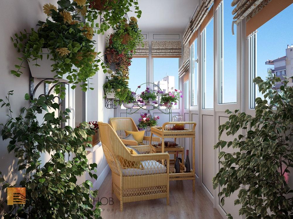 Балкон с большим обилием цветов для утреннего релакса.