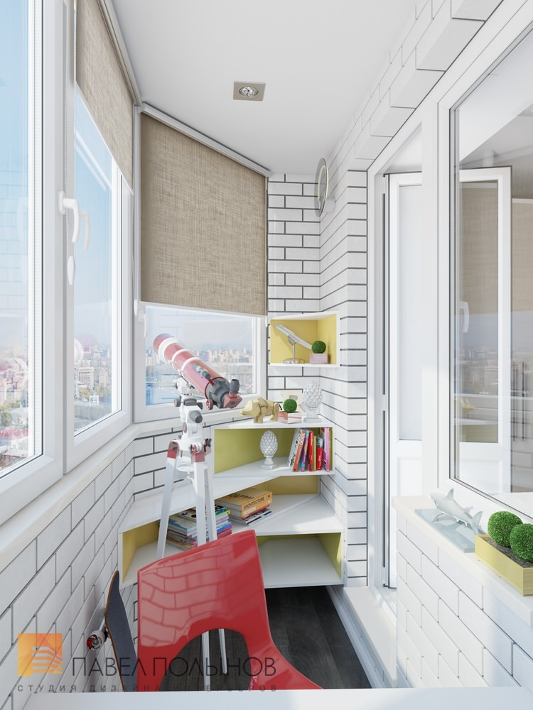 """Интерьер лоджии с рабочим местом - квартира в жк """"красногорс."""