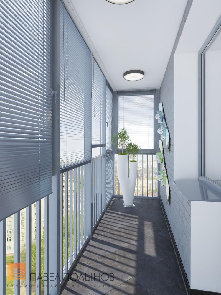 Дизайн интерьера светло-серого балкона с необычной вазой.