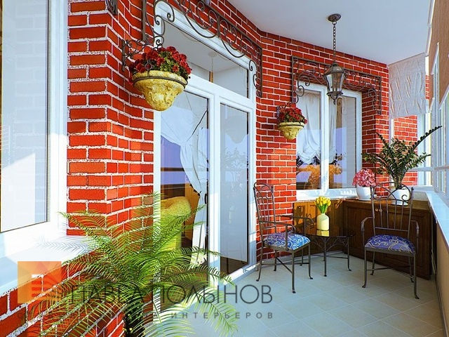 Дизайн балкона красный кирпич.
