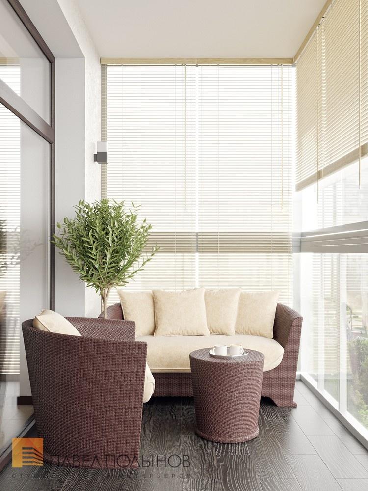 Лоджия с диванчиком и кофейным столиком в жк duderhof club.