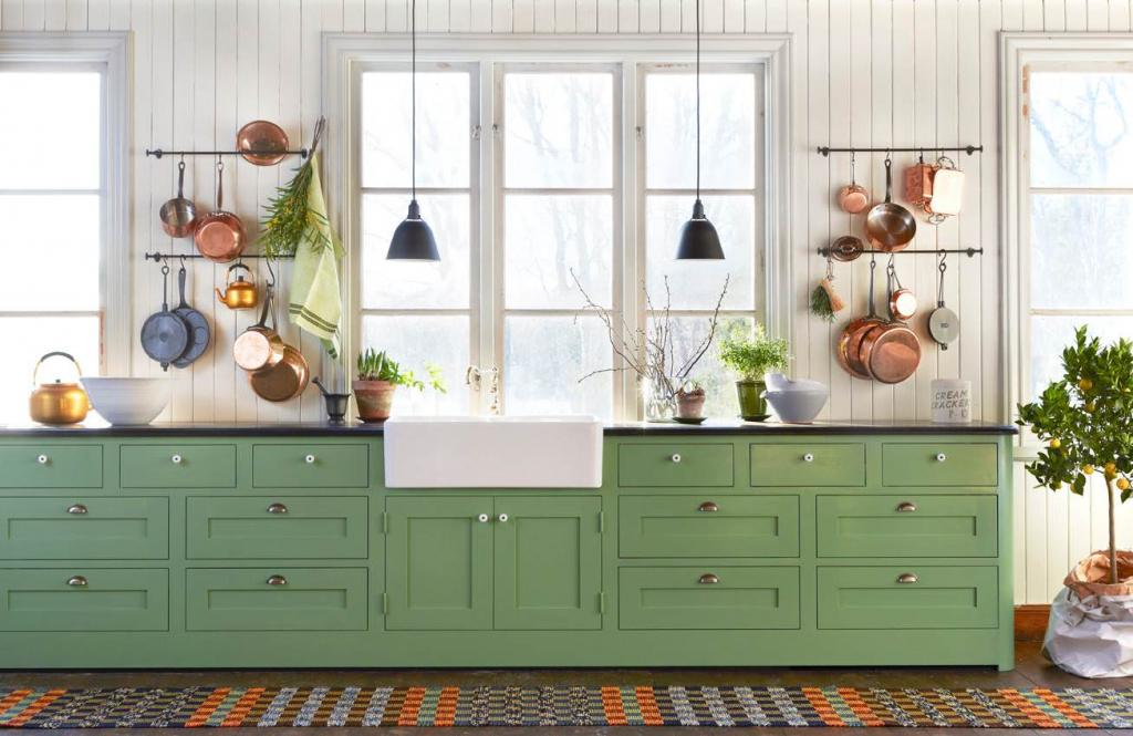 Стильные зеленые оттенки для дизайна кухни