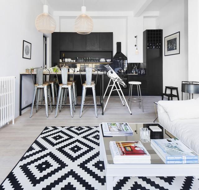 Черно-белый интерьер кухни в разных стилях